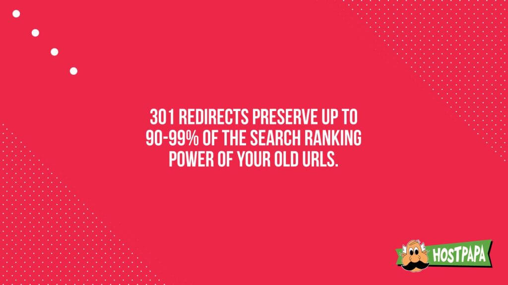 301 redirects preserve up to 90-90% of the search ranking power of your old urls