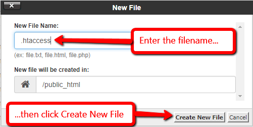 Create a .htaccess File Using File Manager