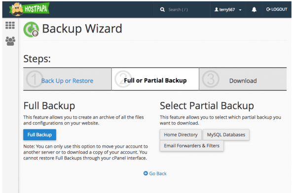 Backup Wizard Options