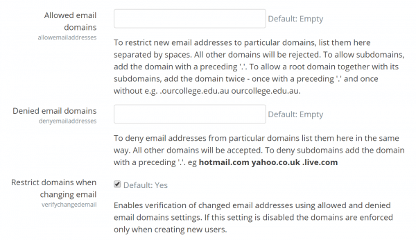 Domain restrictions